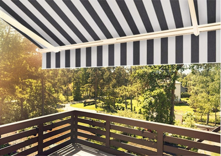 Black And White Retractable Awning On Balcony
